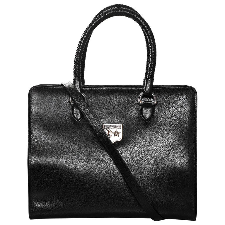 Kieselstein-Cord Black Large Work Tote with Sterling Silver Hardware For Sale