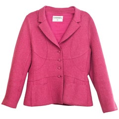 Chanel Pink Boiled Wool Button Up Jacket