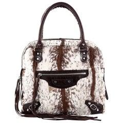 Balenciaga Mini Bowling Classic Studs Handbag Fur