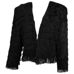 Dramatic Black crepe totally fringed jacket 1980s