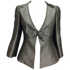 Armani Collezioni textured silver metallic plunge bow front jacket