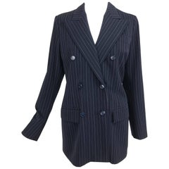 Yves Saint Laurent couture pin stripe double breasted gangster jacket 1967