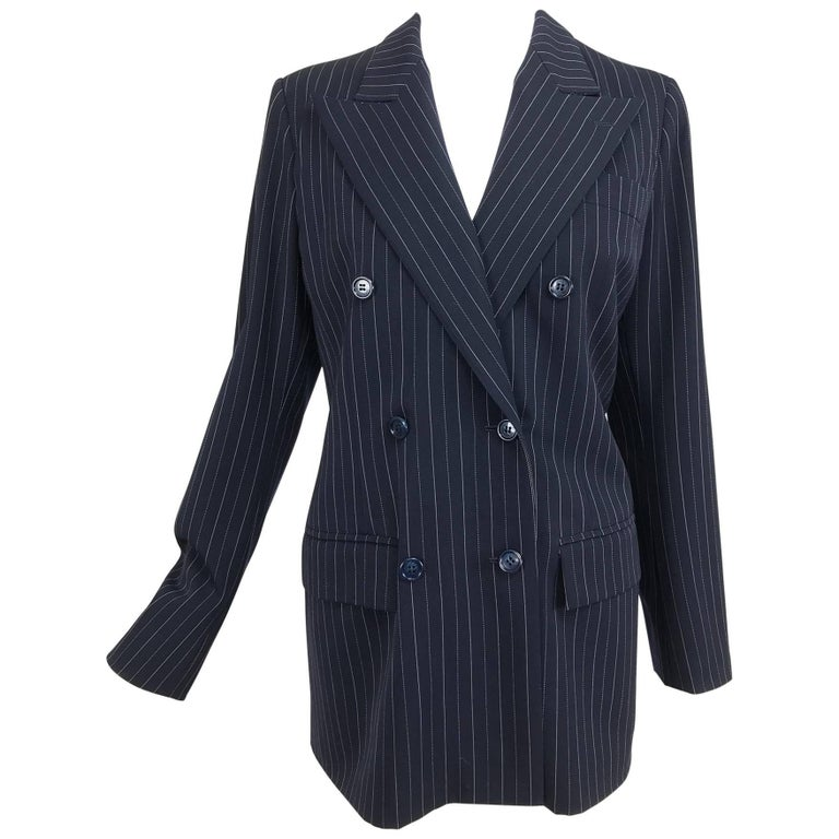 Yves Saint Laurent couture pin stripe double breasted gangster jacket 1967 1