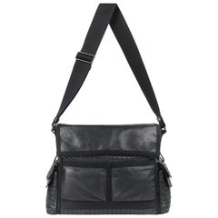 BOTTEGA VENETA S/S 2005 Black Intrecciato & Nappa Leather Large Messenger Bag