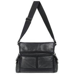 6e3eaebb7b3585 BOTTEGA VENETA S/S 2005 Black Intrecciato & Nappa Leather Large Messenger  Bag