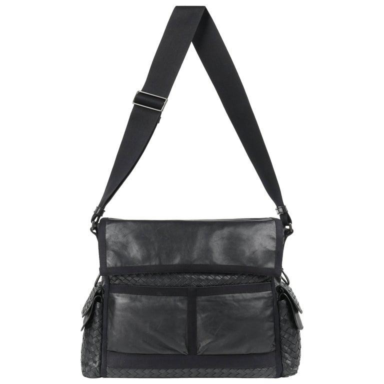 BOTTEGA VENETA S/S 2005 Black Intrecciato & Nappa Leather Large Messenger Bag