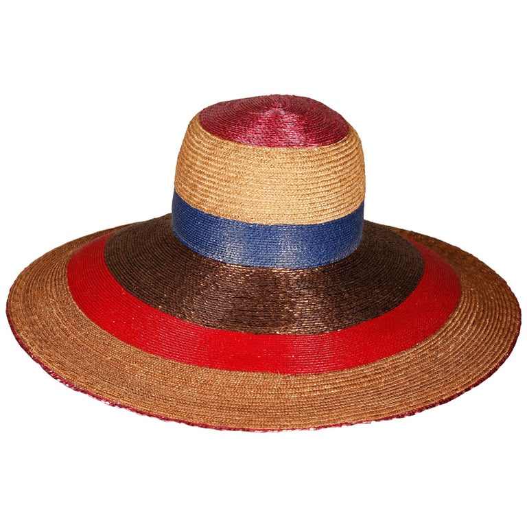 Unworn with Tags 1970s Frank Olive Vintage Color Block Wide Brim Hat