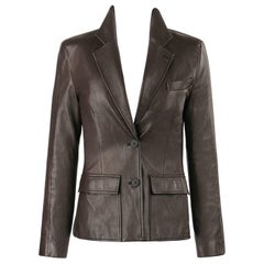 YVES SAINT LAURENT YSL Brown Leather Two Button Blazer Jacket