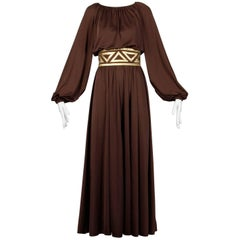 1970s Rizkallah for Don Friese Ltd. Brown Grecian Jersey Knit Maxi Dress or Gown