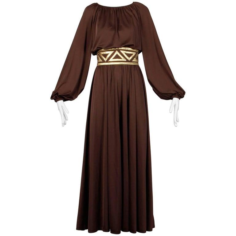 1970s Rizkallah for Don Friese Ltd. Brown Grecian Jersey Knit Maxi ...