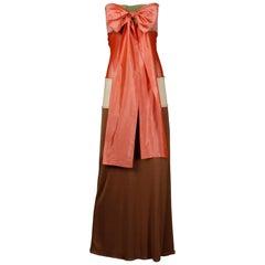 1990s Jean Paul Gaultier Femme Vintage Color Block Strapless Dress with Silk Tie