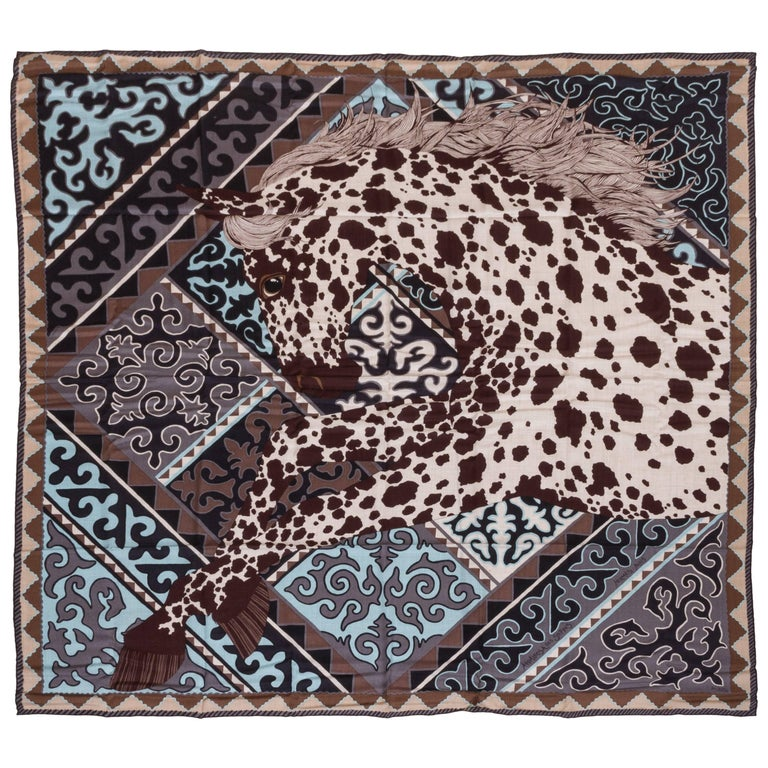 "Hermes 55"" Cashmere Appaloosa des Steppes Shawl Scarf"