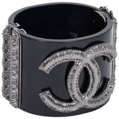 Chanel Black Gunmetal Hinged Cuff