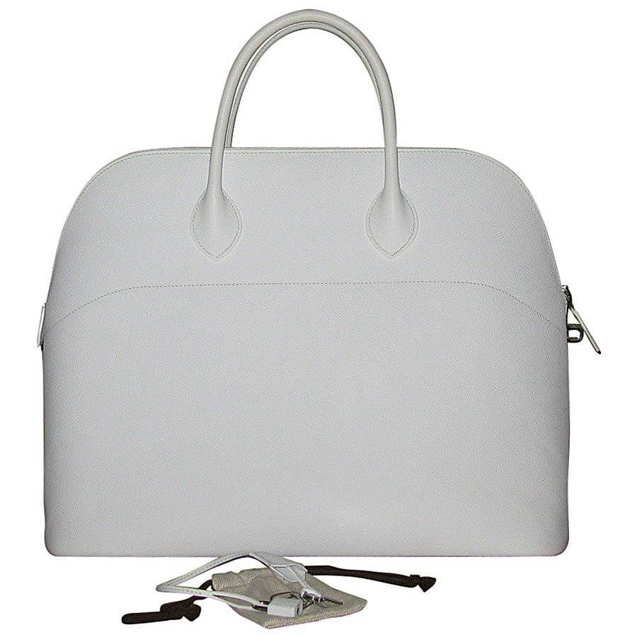 HERMES 'Bolide' Large Handbag in White Epsom Leather