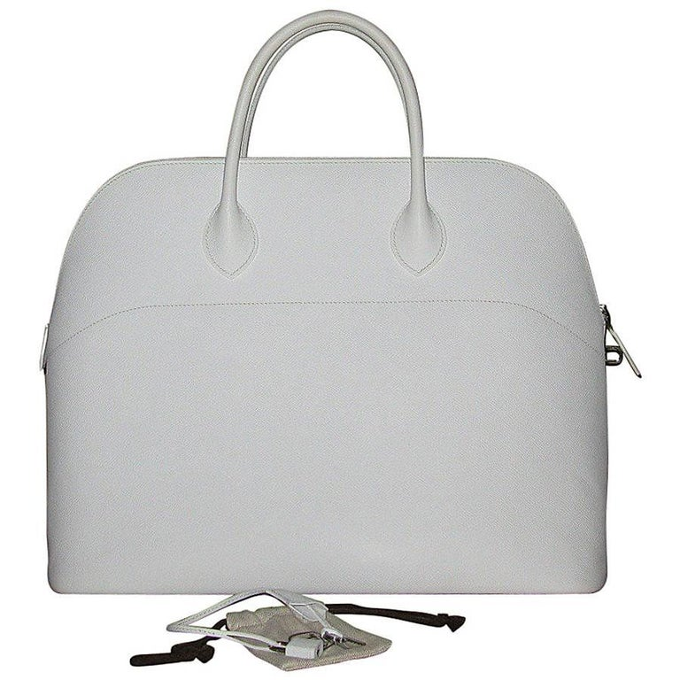 HERMES 'Bolide' Large Handbag in White Epsom Leather