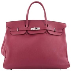 Hermes Birkin Handbag Rubis Togo with Palladium Hardware 40