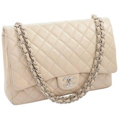 CHANEL Maxi Jumbo Double Flap Bag in Beige Grained Quilted Leather