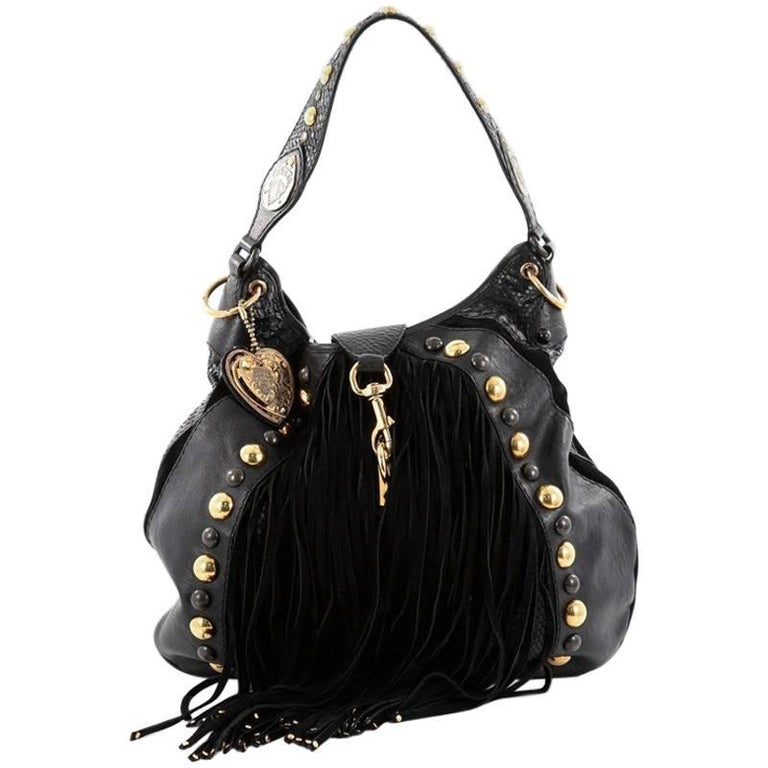 7382eb85ead5 Gucci Fringe Babouska Convertible Hobo Python and Leather Large For Sale