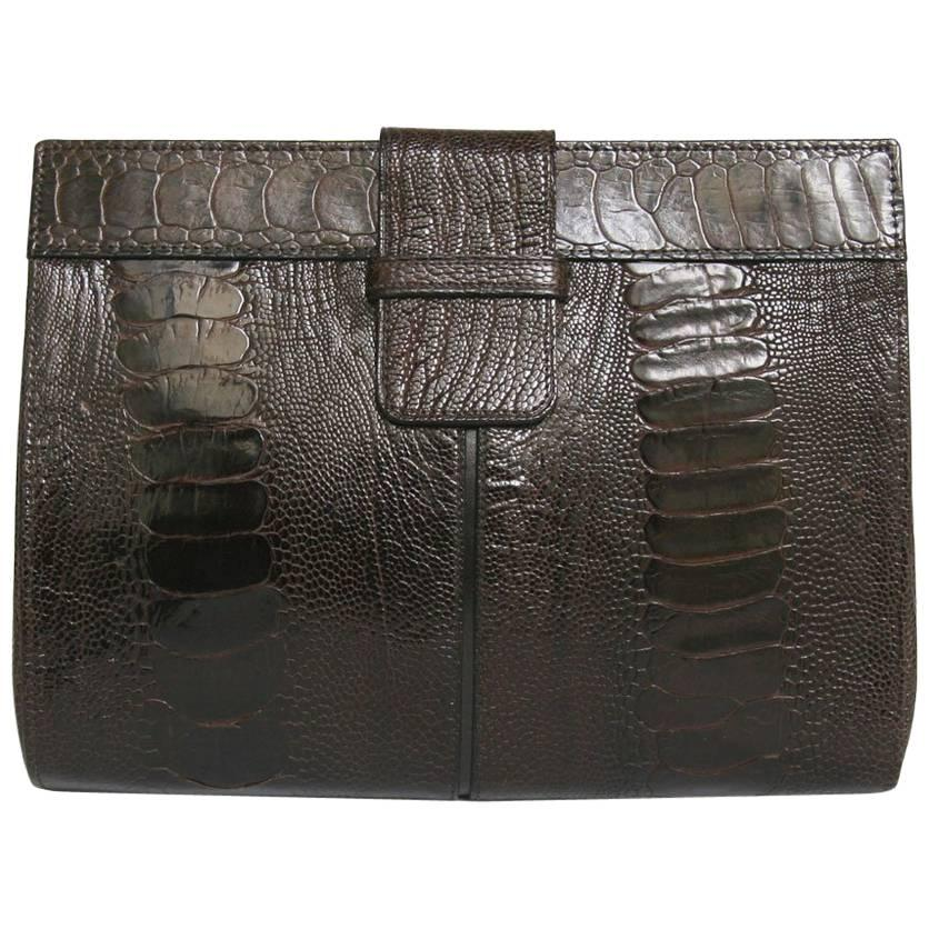 YVES SAINT LAURENT Clutch in Brown Ostrich Leg Leather