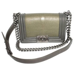 CHANEL 'Boy' Flap Bag in Khaki Green Lambskin and Stingray Leather
