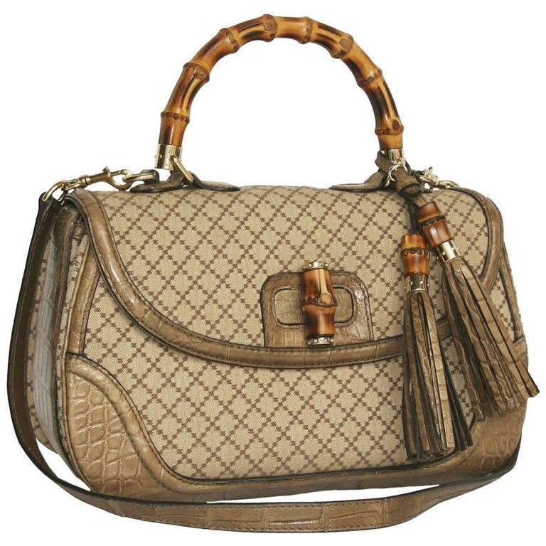 GUCCI 'Bamboo'Bag in Embroidered Beige and Brown Canvas and Beige Crocodile