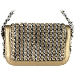 Small CHANEL 'Jewelry' Flap Bag in Bronze Gilded Leather