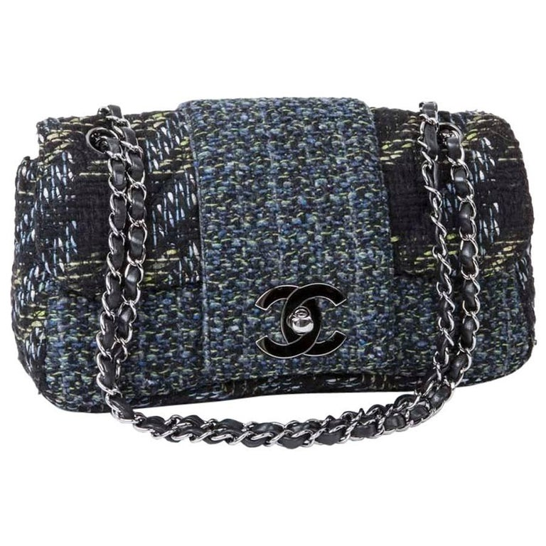 5cad6dd7d529 CHANEL Flap Bag in Black and Blue Green Tweed with Shiny Threads at 1stdibs