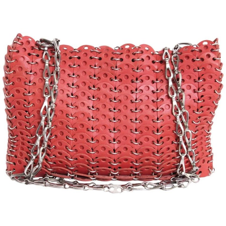 PACO RABANNE Bag in Coral Leather and Palladium Metal