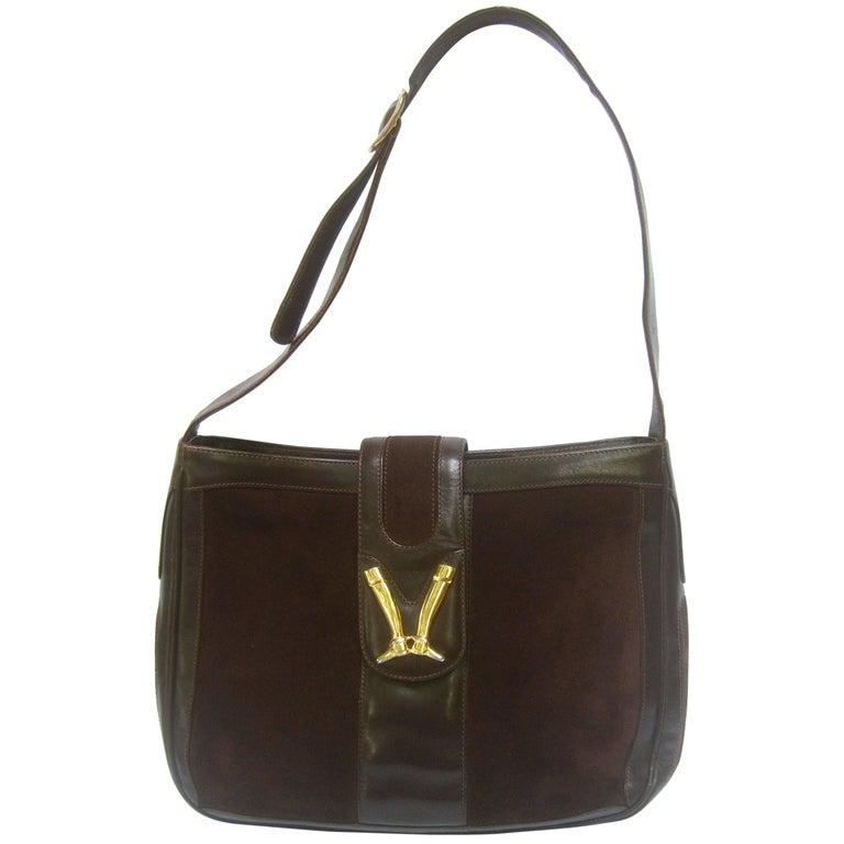 Gucci Rare Chocolate Brown Suede Equestrian Boot Emblem Shoulder Bag c 1970s