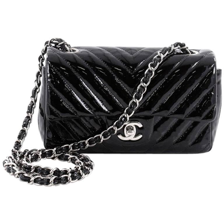 ab190143c86806 Chanel Classic Single Flap Bag Chevron Patent Mini at 1stdibs