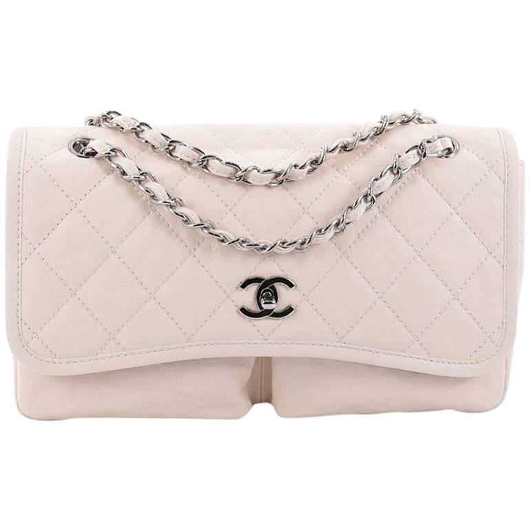 5a500eaa40dcbb Chanel Natural Beauty Split Pocket Flap Bag Quilted Leather Medium For Sale