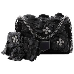 Jimmy Choo Lockett Chain Shoulder Bag Suede and Floral Embellished Leathe