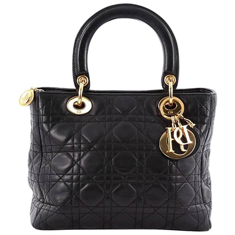 Christian Dior Lady Dior Handbag Cannage Quilt Lambskin Medium For Sale
