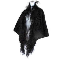 Black Broadtail Lamb Fur Stole with Ostrich Feathers