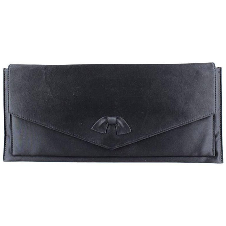 Christian Dior Black Silk Bow Evening Clutch Bag, 1960s