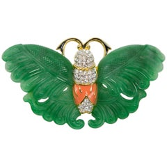 Signed KJL Kenneth Jay Lane Faux Jade Coral Enamel Butterfly Brooch Pin