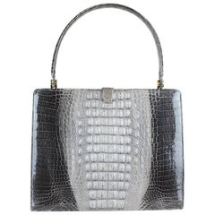 Shades Of Grey Crocodile Print Leather Top Handle Bag Matching Mirror, 1960s