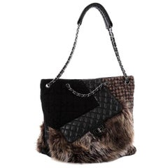 Chanel Karl's Fantasy Cabas Tote Fur Tweed and Quilted Leather