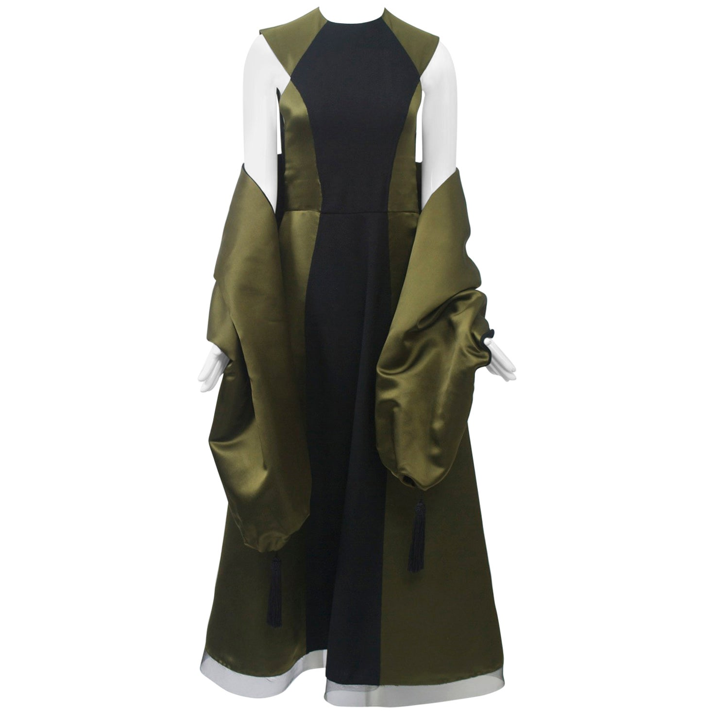Geoffrey Beene Olive/Black Gown with Stole
