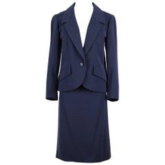 Christian Dior Numbered Haute Couture Navy Wool Skirt Suit, Spring / Summer 1989
