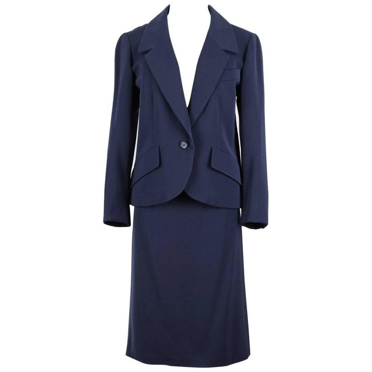 Christian Dior Numbered Haute Couture Navy Wool Skirt Suit Spring/Summer 1989