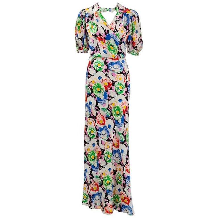1930's Bias Cut Wrap Evening Dress  For Sale