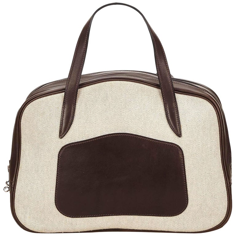 Hermes White Doha Bag