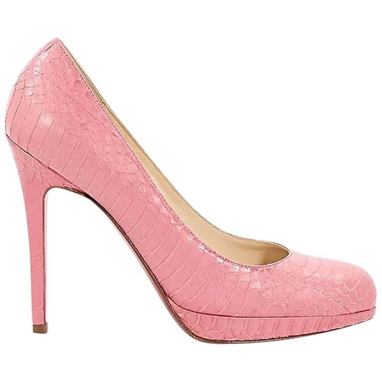 Pink Christian Louboutin Embossed Platform Pumps For Sale
