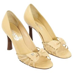 Light Yellow Chanel Leather Pumps