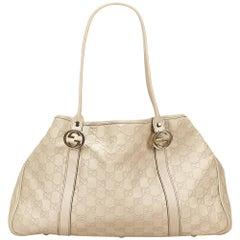 Gucci White Guccissima Leather Tote Bag