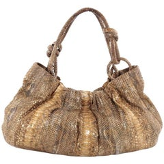 Nancy Gonzalez Knot Shoulder Bag Pleated Python Large