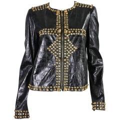 Roberto Cavalli Studded and Embossed Leather Jacket