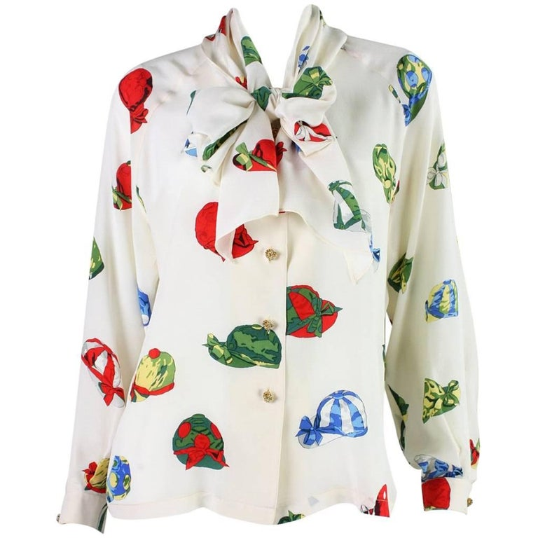 Vintage Hermes Silk Blouse with Jockey Cap Print