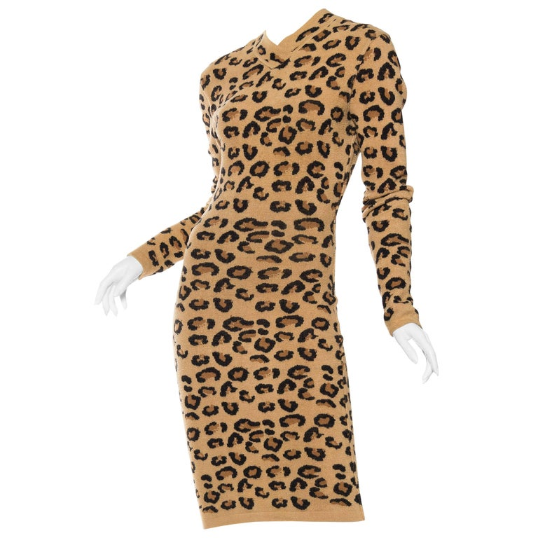 Azzedine Alaia Wool Blend Knit Iconic 1991 Leopard Collection Dress For Sale